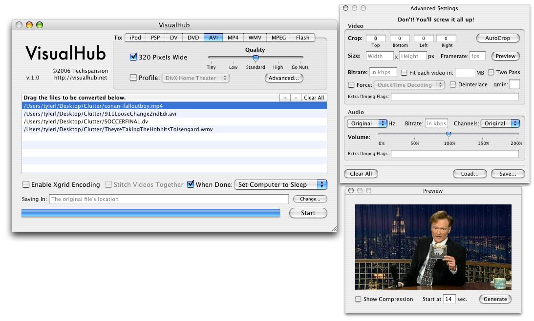 Captura de pantalla de VisualHub 1.31a
